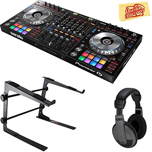 Pioneer DDJ-RB Portable 2-Channel Controller for Rekordbox DJ Bundle with Stand, Headphones, and Austin Bazaar Polishing Cloth, Bundle w/ Stand