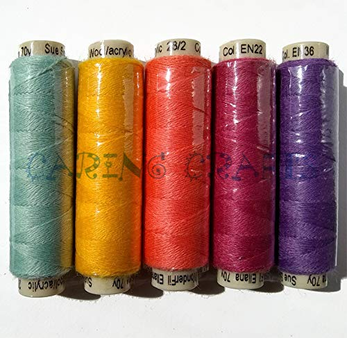 Sue Spargo Ellana Wool Blend Thread for Embroidery - Five 70-Yard Spools, Matches The ''Flower'' Colorway 4 Wool Applique Pack