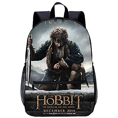 Mochila Infantil 3D Mochila Ordenador Portátil El Hobbit: Batalla de los cinco ejércitos Bilbo Bolsón Adecuado para: estudiantes de primaria y secundaria, la mejor opción para viajes al aire libre T