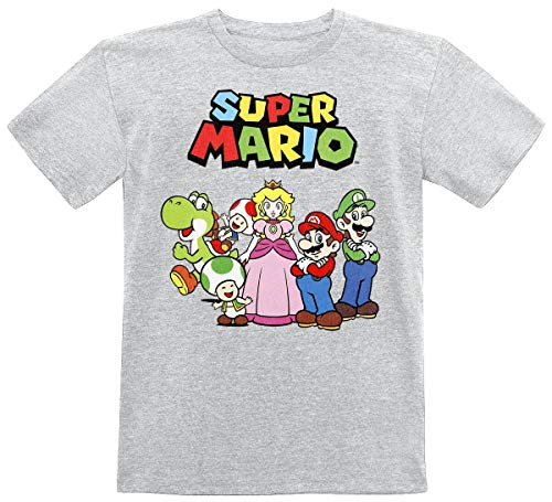 Super Mario Charaktere Kinder & Babies T-Shirt grau meliert 110/116