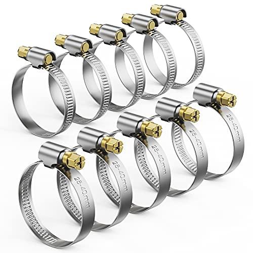 DORART 10Pcs Abrazaderas Metalicas 25-40mm Ajustable, Abrazadera para Tubo de Color Plateado,...