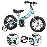 Qiani Bicicleta sin pedales 2 en 1 para niños pequeños, 2 3 4 5 6 7 años, 12 14 16 pulgadas, con ruedas, frenos, juego de pedales (azul, 14 pulgadas)