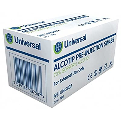 Universal Uni-Wipe Alcotip Swabs with 70% IPA (Box of 100) from Universal