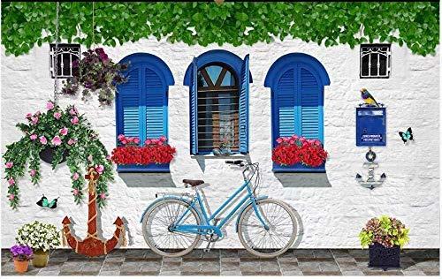 Behang reuzenposter rode Middellandse Zee op de vensterbank behang 3D wandeffect 350 cm x 245 cm.