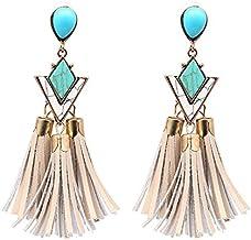 Fashion Trends Womens Earrings Green Granite Cowhide Tassel Stud Earrings Womens Earrings