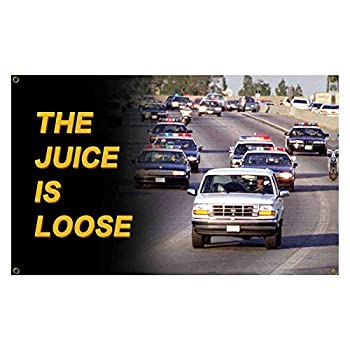 Aiyida The Juice is Loose Flag OJ Simpson 3x5 Feet Banner with Four Brass Grommets for College Dorm Room Decor,Outdoor,Parties Man Cave,Tailgates