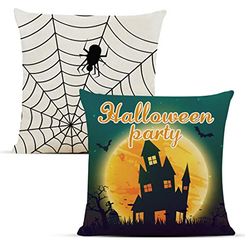 Diateklity Halloween Spider Throw Pillow Covers 18x18 Inches 2 Pcs Decoration for Couch Sofa Patio Cotton Linen Pillowcases
