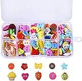 Botones costura Botones de Resina 240 Piezas Colores y formas surtidos Botones de Manualidades en Caja de Plástico para Costura Manualidades Scrapbooking y Adornos Hechos a Mano