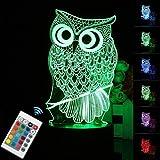 ZXLIADLY 3D LED Night Light Owl Animal 7 Color Change Table Desk Lamp