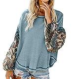 T-Shirt Tops Blouses TAOtTAO Blusa Tipo túnica de Punto Suelto para Mujer, con Nudo de Patchwork, Camisetas de murciélago, alas Lisas, Verde, Medium