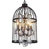 13.8 Inch Industrial Metal Bird Cage Pendant Light with 4 Light Chandelier Lighting Vintage Ceiling Light lamp Birdcage Shaped Bedroom Pendant with Crystal (Black)