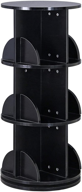 QIANGDA redatable Bookshelf Floor Bookrack Bookcase Circular Commodity Shelf Show Shelf Save Space, 2 Sizes, 5 colors Optional (color   Black, Size   46 x 46 x 102cm)