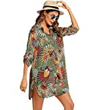 Vestido Playa Leopardo Mujer Cuello V Corto Cover Up Beach Blusa Vestidos Camisa Playas Cortos Tie Dye Túnica Playa Mujer Cover-Up Talla Grande Tallas Grandes Bikini Cover Ups Beach Dresses Verde XL