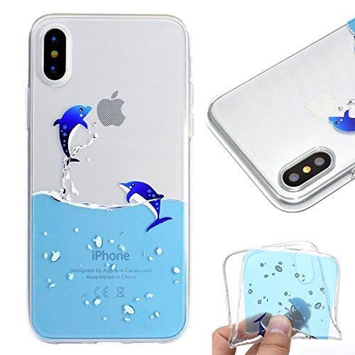 Artfeel Klar Weich Silikon Hülle für iPhone XR, iPhone XR Handyhülle Niedlich Karikatur Blau Delphin Muster,Ultra Dünn Leicht Transparent Flexibel TPU Bumper Stoßfest Zurück Schutzhülle
