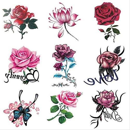 Un ensemble de rétro lotus imperméable à l'eau empreinte femme tatouage autocollants main dos corsage A
