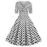 EuCoo-Vestito da sera da donna, con stampa a punto d'onda elegante, stile anni '50, stile vintage e classico, stile vintage anni '50 bianco XXL