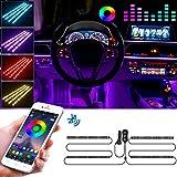 FREESOO Tiras LED Coche, 4pcs Tiras de Luces LED para Coche Interior APP Control Diseño de Dos Líneas Impermeable RGB Multi Color Música Iluminación de Coche Encendedor de Cigarrillos 12V Cargador USB