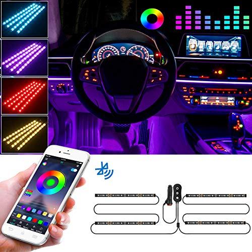 FREESOO Auto LED Innenbeleuchtung, 4pcs Auto LED Strip, Upgrade Zwei-Linien-Design, LED Atmosphäre Licht Wasserdicht Beleuchtung Steuerbare mehrfarbig Musik Innenbeleuchtung mit Zigarettenanzünder 12V