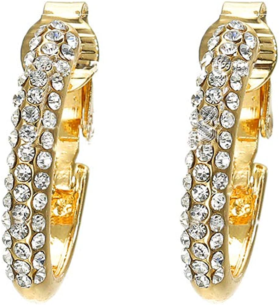Small Hoop High quality Clip On Earrings Fees free for Cl Oval Crystal Women Rhinestone