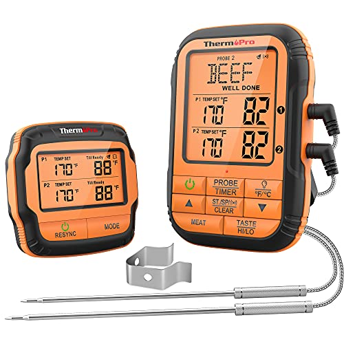 ThermoPro TP28C 150m Funkthermometer Grillthermometer mit 2 Sonden Küchenuhr Fleischthermometer Bratenthermometer IPX4 Wasserdicht für Ofen, Dutch Oven, Gasgrill