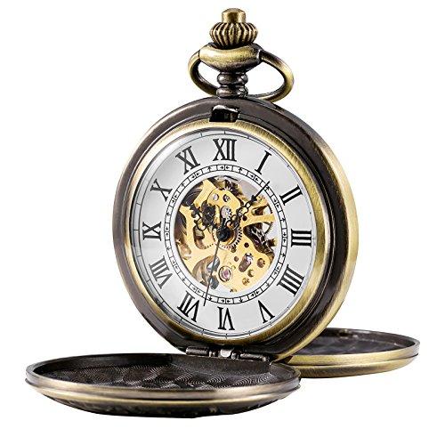TREEWETO - Reloj de bolsillo mecánico para hombre, diseño de esqueleto, números romanos retro, color bronce