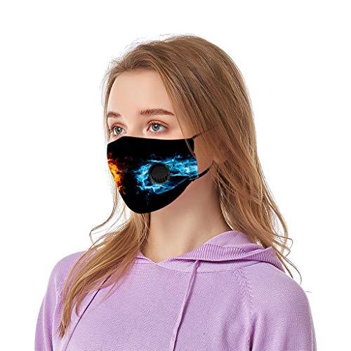 riou Damen Mundschutz mit Ventil Waschbar Baumwolle Atmungsaktive Staubdicht Motiv Bunt Multifunktional Schlauchschal Halstuch