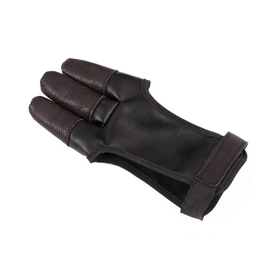 住む現実的マルコポーロ弓と矢の手袋 - 3本の指手作りのレザーシューティングプロテクター保護具、あなたの子供の指の保護のための優れた安全アクセサリー。