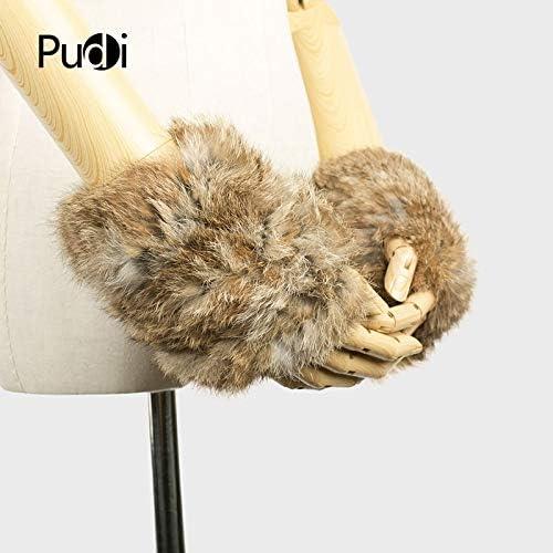 GF704 Hand Made Knitted Fur Fabric Real REX Rabbit Fur Glove Winter Gloves Mittens mit handwear - (Color: Black)
