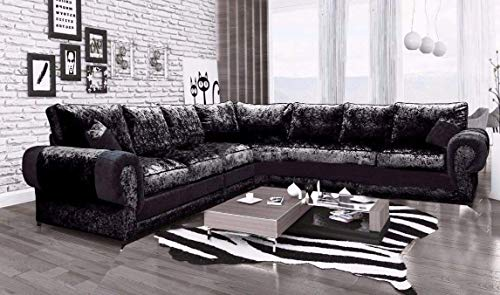 HHI New Large Black Crushed Velvet Corner Sofa Suite - Soft Fabric - chesterfield sofa - velvet fabric - 3 piece suites - l shaped sofa - living room sets
