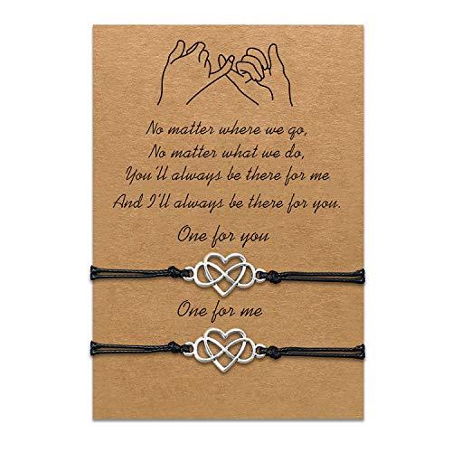 Conjunto de pulseras de madre e hija Pulsera de cuerda de cordón a juego Regalo de mamá a hija Relación Joyería de deseo hecha a mano para mujeres Niñas (2 piezas de amor sin fin)