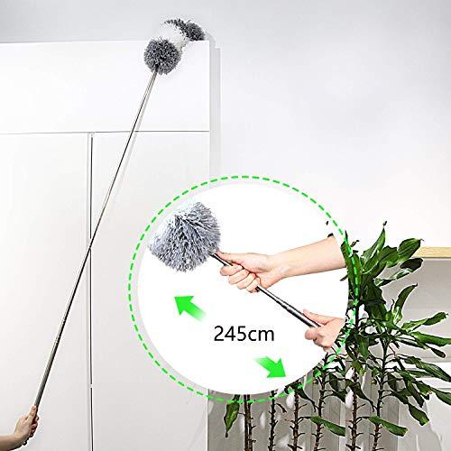 Cleanhomeホコリ取りほこりとりはたきハンディモップ高い所掃除250cmまで伸縮可能曲がる可能手洗い可能天井/車/家/ブラインド/エアコンに適用(グレーホワイト)