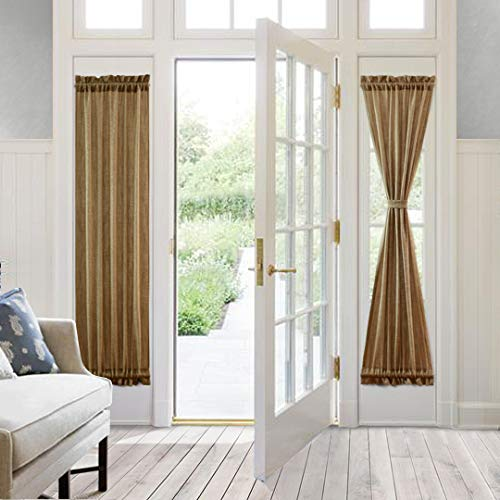 VORTTA Burlap Look Door Curtain Rod Pocket Tan Natural Soft Rustic Patio Curtains Panel for French Door Window with Tieback 25W by 72L inches, 1 Panel