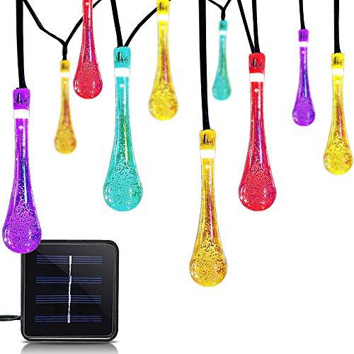 Luces solares de jardín, 7 m, 50 luces LED para exteriores, multicolor, impermeable, bola de cristal, iluminación decorativa para el hogar, jardín, patio, Navidad