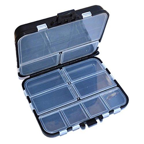 hunpta Angel-Box mit 11 Gittern, Köderhaken, Aufbewahrung, kleine Box Hakenbox, Schwarz