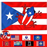 AOKDEER Puerto Rico Flag 3x5 Ft Polyester Double Sided Puerto Rican Frog Flags with Brass Grommets American Patriotic Home Decorations Outdoor Banner