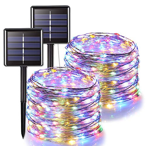JMEXSUSS 2 Pack Solar String Lights Outdoor Waterproof, 66ft 200 LED Solar Christmas Lights Multicolor, 8 Lighting Modes Silver Wire Solar Fairy Lights for Tree, Garden, Patio, Wedding, Party, Xmas