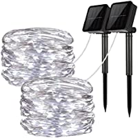 Solar String Lights, 2 Pack 100 LED Solar Fairy Lights 33 ft 8 Modes Copper Wire Lights Waterproof Outdoor String Lights...