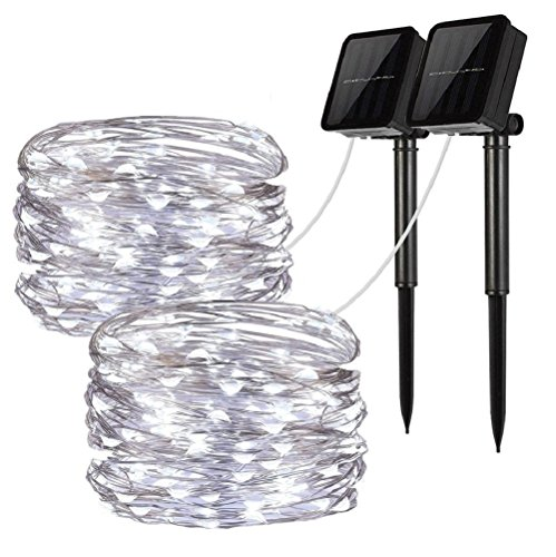 Solar String Lights, 2 Pack 100 LED Solar Fairy Lights 33 ft 8 Modes Copper Wire Lights Waterproof Outdoor String Lights for Garden Patio Gate Yard Party Wedding Indoor Bedroom (Cool White)