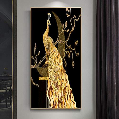 Impressions sur toile or paon papillon fleur plume oiseau toile peinture Animal mur Art photos pour salon décor à la maison-70x100 pas de cadre