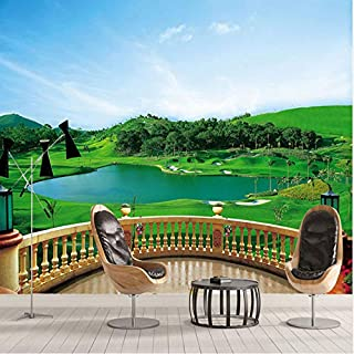 Wallpaper 3D Stereo Balcone Campo da golf Murale Soggiorno Camera da letto TV Sfondo muro Pittura Green Eye Home Decor Wallpaper