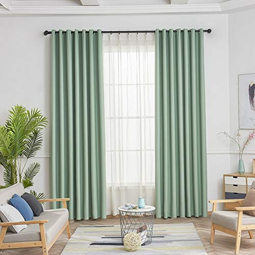 QZXCD curtainNew Fabric Solid Curtains For Living Room/Bedroom Colorful with Purple/Green/Blue/Pink Window Kitchen Curtain Blinds 1 Pair w100cm x h260cm Green Cloth
