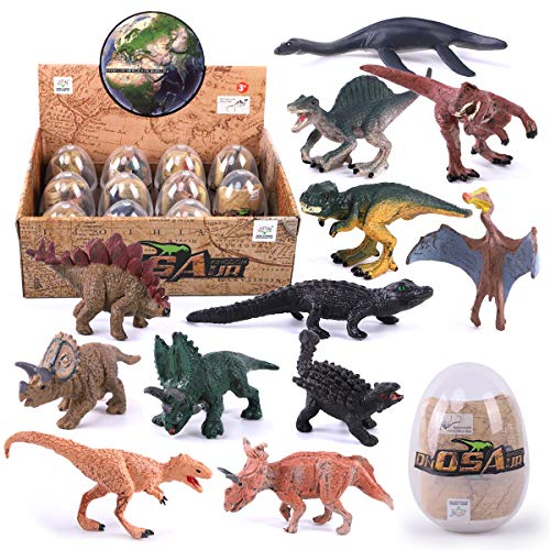 REMOKING 3D Dinosaur Easter Eggs Play Set-STEM Educational Toys -Dinosaur for Party Favor, Easter Eggs Hunt, Basket Stuffers Fillers, Classroom Prize Supplies 12 Pcs,Top Dinosaur Gift Set