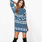 VEFSU Suéter de reno para mujer, diseño de copos de nieve, Azul, S
