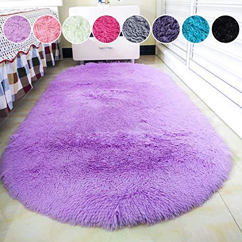 junovo Oval Fluffy Ultra Soft Area Rugs for Bedroom Plush Shaggy Carpet for Kids Room Bedside Nursery Mats, 2.6 x 5.3ft, Purple