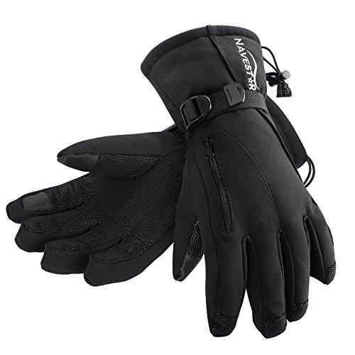 NAVESTAR Skihandschuhe Wasserdicht und Winddicht Winter Snowboard Handschuhe mit Touchscreen-Finger & Reißverschlusstasche, Angenehme Warm für Damen und Herren, 4 Größen zur Auswahl