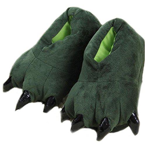 LANFIRE Unisex Soft Plüsch Haus Hausschuhe Tier Kostüm Pfote Claw Schuhe, Grün, S (Kind / Größe: 28-34)