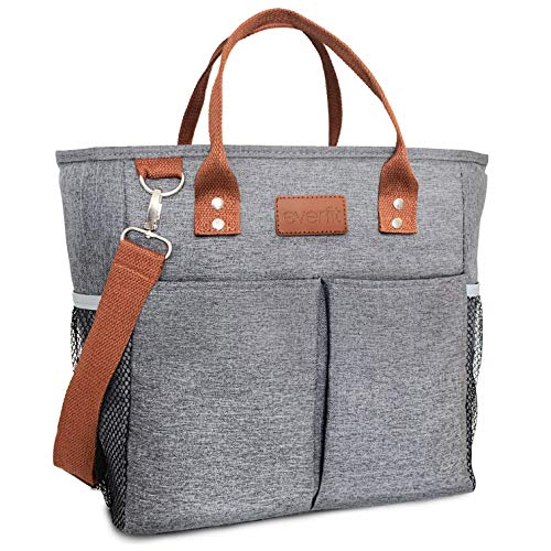 EVERFIT Premium Large Insulated Lunch Tote Bag with Shoulder Strap, (20-Can) Big Capacity for Tall Drink Flasks, Waterproof Tote Lunch Bag for Women Men Adults Work College | Gray, Large (10L)