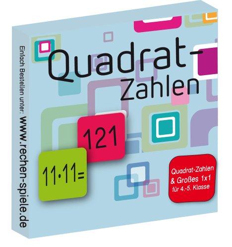 Rechen-Spiel Quadrat-Zahlen, leicht Lernen mit Karteikarten