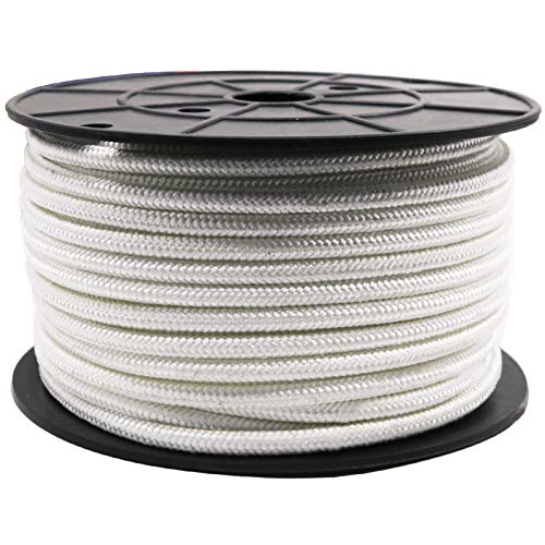 Amgate Wire Center Flagpole Rope 1/4' x 100 feet - Braided Polyester Line with Steel Center Marine Grade Flag Pole Halyard Rope