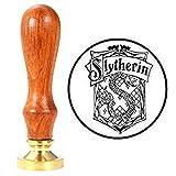 ANBOSE Hogwarts Slytherin - Sello de cera con mango de madera, sellos de cobre, sello de cera vintage retro para tarjetas de cartas invitaciones